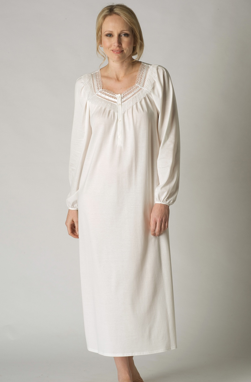 Cream Long Sleeved Cotton Jersey Nightgown