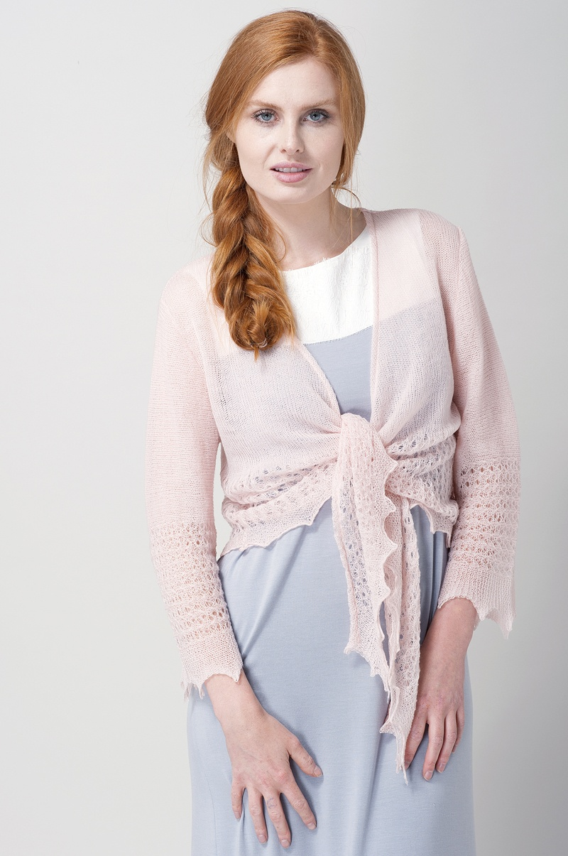 Blush Pink Wool and Cashmere Knitted Ballet Wrap Bedjacket