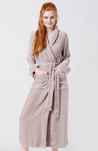 Ladies Camel Silk Mix Velour Dressing Gown