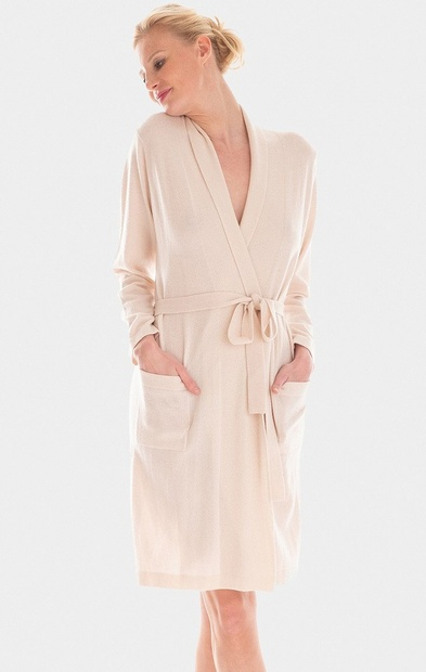 Short Cashmere and Wool Knit Dressing Gown in Cream or Cinnamon