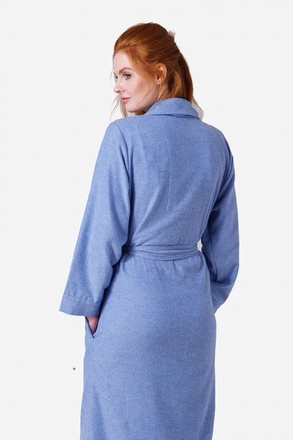 Blue Herringbone Brushed Cotton Robe
