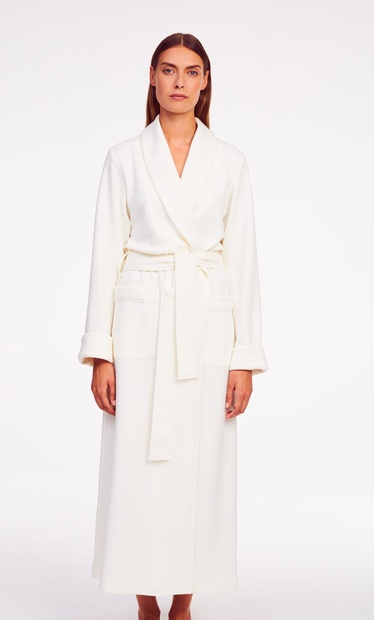 Extra Long Pale Pink Quilted Wrap Around Dressing Gown