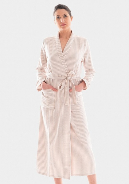 Cotton Flannel Dressing Gown in Sand or Pink Granite