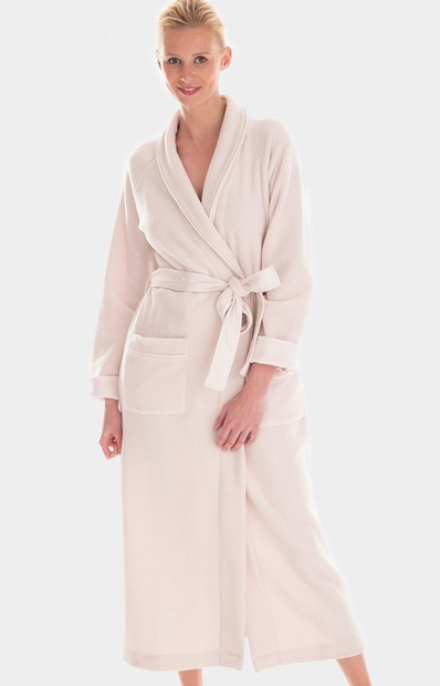 Long Pale Pink Wrap Around Warm & Cosy Robe