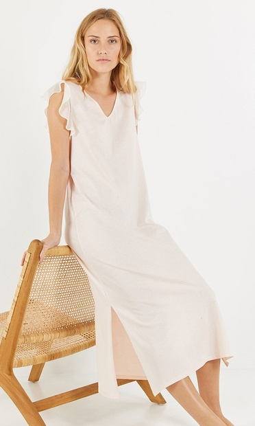 Long Pale Pink Nightdress with Chiffon Cap Sleeves