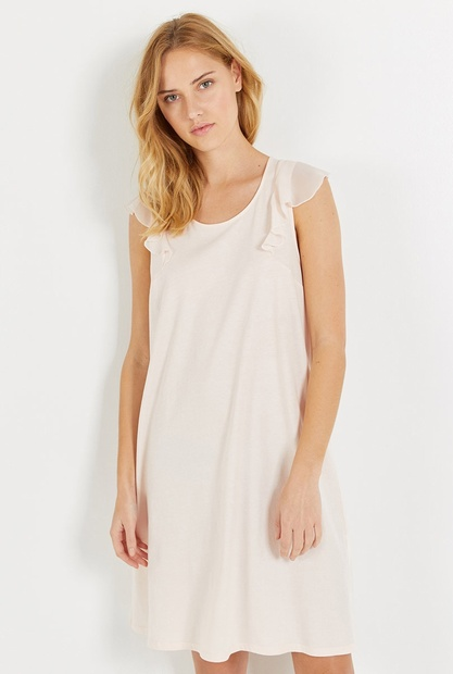 Short Length Cotton Jersey Nightdress with Chiffon Cap Sleeves